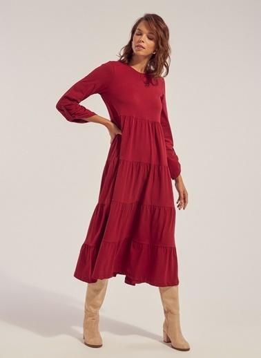 Monamoda Eteği Kesik Volanlı Örme Elbise Kırmızı